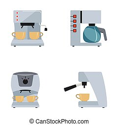 Coffee maker set on a white background
