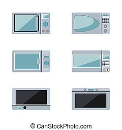 microwave ovens set on a white background