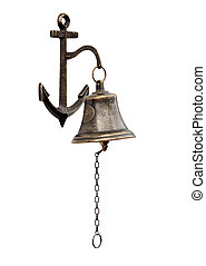 bell - Ship\'s bell-chain isolated from a white background.