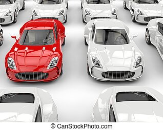 Red and white sports cars