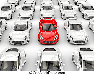 Rows of beautiful sports cars - red car stands out