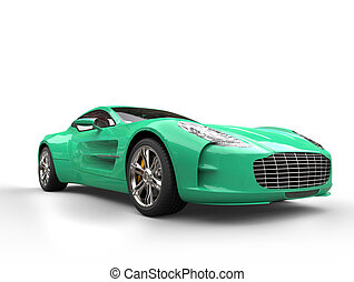 Aqua green sports car - beauty studio shot - isolated on...