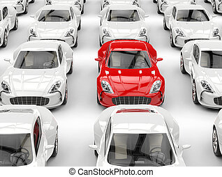 Red sports car stands out in the crowd