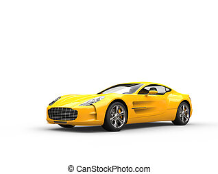 Yellow sports car - beauty studio shot - isolated on white...