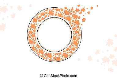 Maple Leaf Round Frame Design With Copyspace Over White...