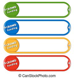 Four buttons for entering text with the words crowd funding