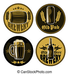 set of accessories for pub - set of four coasters for beer...
