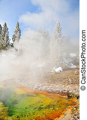 Vivid hot spring in Yellowstone - Vivid yellow orange and...