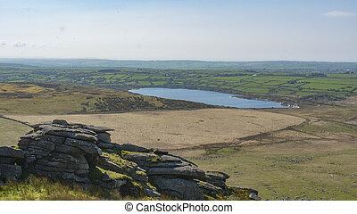 The view Dartmoor - The landscape of Dartmoor in Cornwall...