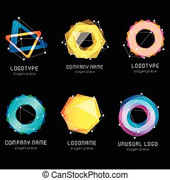 Unusual abstract geometric shapes vector logo set Circular,...