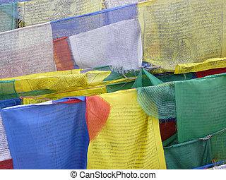 Closeup of prayer flags
