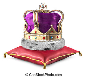 Crown on pillow - Kings crown on a pillow over a white...