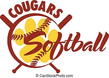 cougars softball team design with paw print and stitches for...