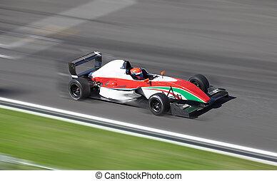 Formula 2 racing car - Motion blur of racing car on speed...