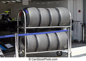 The tires of a racing car F1 - Wheels racing a Formula 1 car...