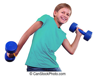 Teenage sportive boy is doing exercises. Sporty childhood. Teenager exercising and posing with weights. Isolated over white background.