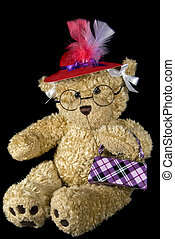 Red Hat Society - Teddy bear with red hat and plaid purse.
