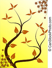 An abstract floral design with japanese style  trees on a yellow backdrop with room for text