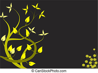 An abstract floral design with japanese style yellow trees on a black backdrop with room for text
