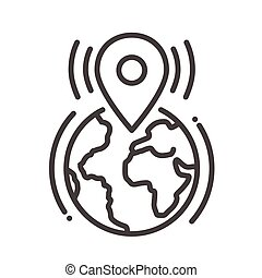 Location tag call single icon - Location tag single isolated...