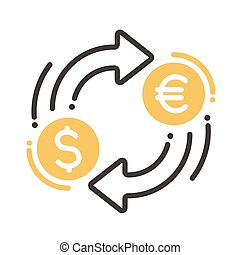Currency exchange single icon