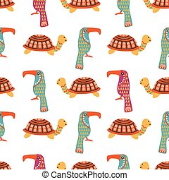 African animals cute seamless pattern with colorful...