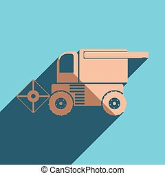 Flat icons with shadow of combine-harvester