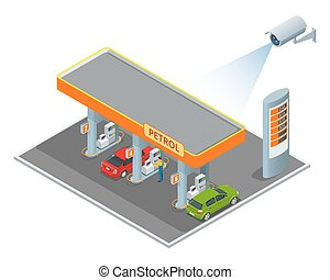 CCTV security camera on isometric illustration of petrol diesel station. 3d isometric vector illustration.