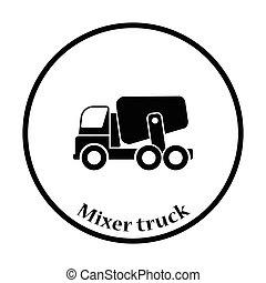 Icon of Concrete mixer truck Thin circle design Vector...