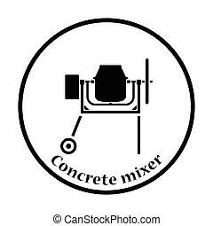 Icon of Concrete mixer Thin circle design Vector...