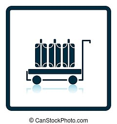 Luggage cart icon. Shadow reflection design. Vector...