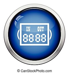 Icon of football referee scoreboard Glossy button design...