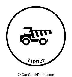 Icon of tipper Thin circle design Vector illustration