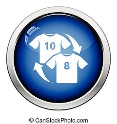 Icon of football replace Glossy button design Vector...