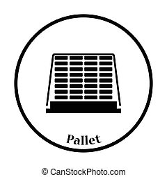 Icon of construction pallet Thin circle design Vector...
