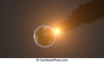 Meteor Strike Over Earth. HD Resolution