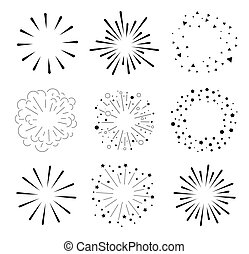 Set of Sparkles and Bursts. Minimal design. Geometric Shapes...