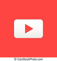 Vector play button. Red and white digital element