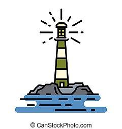 Vector flat line lighthouse sign