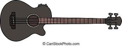 Black acoustic bass guitar