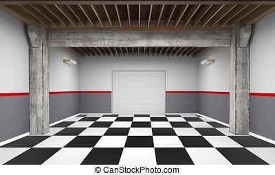 3d empty garage with metallic roller shutter door on white background
