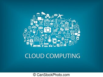 Cloud computing concept with various icons