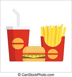 French fries, burger and soda