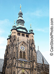 St. Vitus gothic cathedral located within the Prague Castle...
