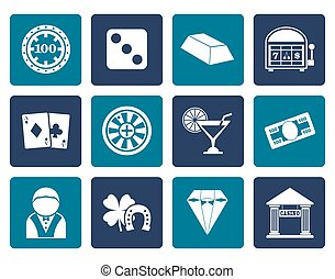 Flat casino and gambling icons