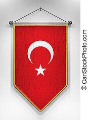 Turkey Flag Pennant - Pennant with Turkish flag 3D...