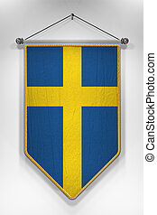 Sweden Flag Pennant - Pennant with Swedish flag 3D...