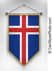 Iceland Flag Pennant - Pennant with Icelandic flag. 3D...
