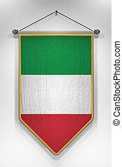 Italy Flag Pennant - Pennant with Italian flag 3D...
