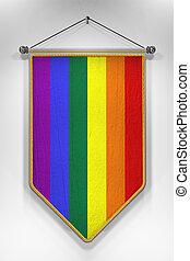 Rainbow Flag Pennant - Pennant with Rainbow flag 3D...